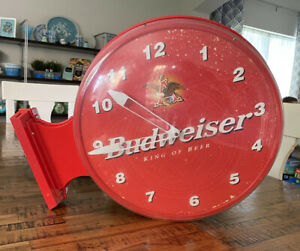 Vintage Budweiser King of Beers Wall Mounted Red Clock / Untested / 2X Sided