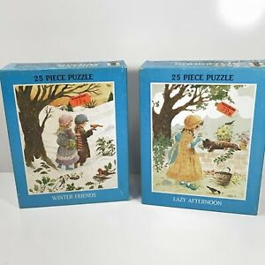 """Vintage 1976 Rainbow Works """"Winter Friends"""" """"Lazy Afternoon"""" Jigsaw Puzzles New"""