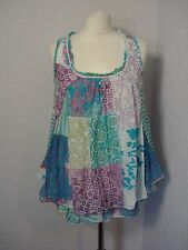 Joe Browns white/blue/multi cotton boho patchwork vest top 8
