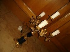 antique vintage 4 arm table lamp candelabra ornate ? french blue gold metal