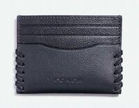 Coach Card Case Men's Wallet Black Leather Baseball Stitch F22370 Valentine's