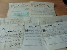 Job Lot Of 4 Paper Ephemera Share Certificate Minton Motor Rim Co. + Letters