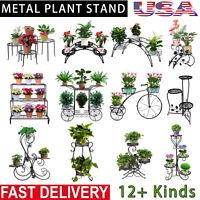 Metal Plant Stand Garden Decor Flower Pot Shelves Outdoor Indoor Wrought Iron US