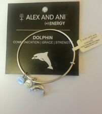 NWT ALEX AND ANI BRACELET Dolphin Charm Bangle Russian SILVER TONE