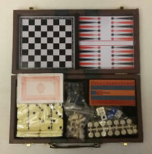 PORTABLE TRAVEL GAMES - CHECKERS, CHESS, CRIBBAGE, DOMINOES, BACKGAMMON  5 GAMES