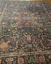 Tribal Vintage Floral Hand-Knotted Wool Oriental Rug  Hand-Cleaned 7' x 10'