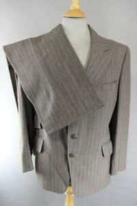 "BESPOKE TAILORED 3 POCKET VINTAGE 1970's BROWN STRIPED SUIT: CHEST 40""/WAIST 38"""