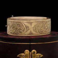 Antique Vintage Art Nouveau 18k Rose Gold Chased Swirl Wedding Bangle Bracelet
