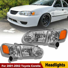 For 2001-2002 Toyota Corolla Headlights w/Corner Signal Headlamps Left+Right Set