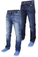 Enzo Mens Denim Jeans Regular Fit Straight Leg Free Belt Trousers Pants 28-48
