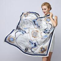 100% Pure Silk Women Logbook Print Large Square Scarf  Lady Office Silk Scarf