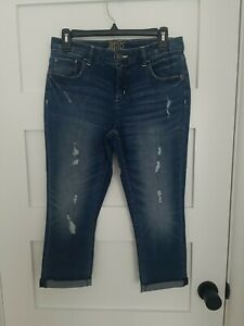 JUSTICE Girls Distressed Ripped Stretch Rolled Crop CapriJeans Wash size 14 plus