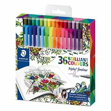 STAEDTLER Triplus #334 36pc triangolare 0.3mm Fineliner Punta in fibra penne colorate