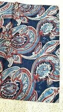 """Navy blue red gray Paisley print handmade/rolled polyester pocket square 12""""x12"""""""