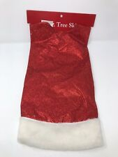 """Christmas Tree Skirt Red Glitter with White Fuzzy Border 39.4"""""""