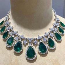 100Ct Pear Zambian Lyk Simulant Emerald Diamond Choker Necklace Silver Gold Fnsh