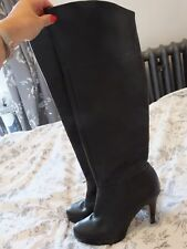 Utterly gorgeous Topshop knee high platform black leather boots size 5