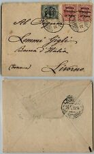VENEZIA TRIDENTINA-5h+due 10h(28/29)-Busta Rovereto->Livorno 20.1.1919