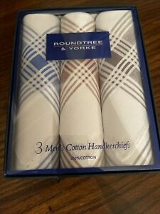 New RoundTree Yorke 3-Pack Handkerchiefs 100% Cotton Classic Hankies Hankerchief
