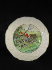 """Crown Ducal Florentine Hunt Scene Plate 3 Horsemen with Hounds Signed 10 1/2"""""""