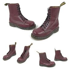 RARE VINTAGE DR. MARTENS ENGLAND 1919 CHERRY LEATHER 10 HOLE STEEL TOE BOOTS 7