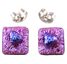 """DICHROIC Post EARRINGS 1/4"""" 10mm Pink Magenta Purple Crinkle Tiny GLASS STUDS"""