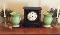 McCoy PAIR Vases Bird Celadon Green Vintage 1940s Deco Made in USA