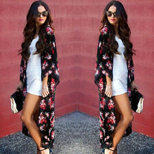 UK Womens Floral Loose Kimono Cardigan Boho Beach Chiffon Tops Long Coat Blouse