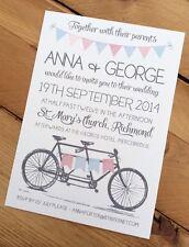 50 Handmade Personalised Vintage Tandem Bicycle Bunting Wedding Invitations