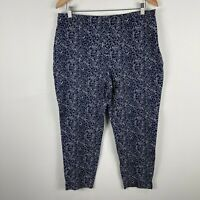 Sportscraft Womens Pants 14 Blue Floral Tapered Zip Closure