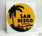 "SAN DIEGO CALIFORNIA Vintage Style Travel Decal, Vinyl Sticker, Luggage Label 4"""