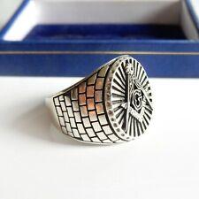 Sterling Silver Masonic Freemasons Signet Ring Square & Compass