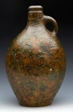 ANTIQUE DECALCOMANIA DECORATED POTTERY BELLARMINE JUG 17TH C.