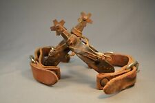 Antique Western Cowboy Metal Spurs w/ Intact Leather Straps England BB