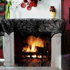 Hot Cobweb Fireplace Scarf Lace Spiderweb Mantle Cover Party For Halloween Decor