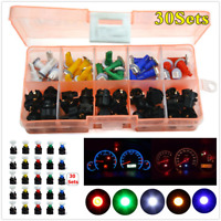 30x Boxed T5 LED Twist Socket 5-Color Bulbs Lights Kit For Car Instrument Panel