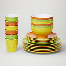 Barel Designs Classic Melamine 48 Piece Citrus Dinner Set - Cups, Bowls, Plates