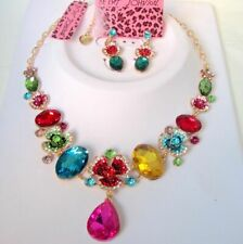 Betsey Johnson colourful crystal&glass flowers bib Necklace earrings set#208T
