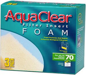 AquaClear 70 Foam Filter Inserts, Aquarium Filter Replacement Media, 3-Pack,
