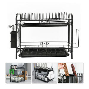 2-Tier Large Capacity Dish Drying Rack Stainless Steel Drainer Kitchen Storage