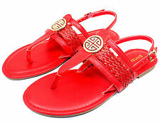 Nadya-15 Gladiator Buckles Comfort Flats Strappy Sandals Women Shoes Red 7.5