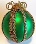 Vintage Round Green Glass Wire Wrapped Ornament w/Gold Top Halloween / Christmas