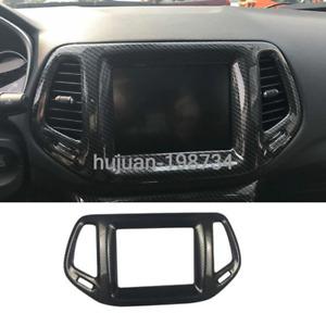 For Jeep Compass 2017-2020 Carbon Fiber Interior GPS Navigation Panel Frame Trim