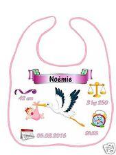 Bavoir bébé fille cigogne qui annonce bébé réf F18 personnalisé avec prénom