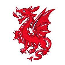 Red Welsh Dragon Patch European Fantasy Legend Wales Folk Craft Iron-On Applique