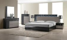 Roma Contemporary King Bedroom Set in Black & Grey Lacquer, 5-Piece