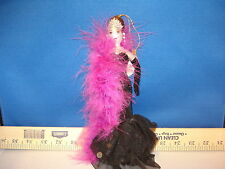 Flamenco Dancer Ornament Woman in Gown and Pink Feather Boa 10 inch 45687 124