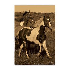 "Morning Run WILD HORSES Sepia Tint Vintage Color 12.5"" x 18"" Small Banner Flag"