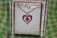 """GLASS BARON PINK HEART WITH CRYSTAL NECKLACE  ( 18 """" CHAIN )"""