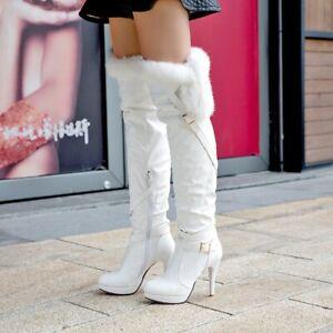 Winter Womens Fur Trim Over Knee Thigh High Boots Warm Buckle Heel Side Zip Shoe